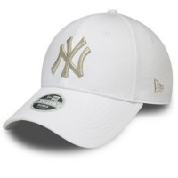 New York Yankees Silver Metallic Logo White 9FORTY Cap BRANCO