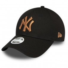 New York Yankees Bronze Metallic Logo Womens Black 9FORTY Cap PRETO