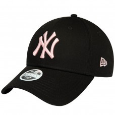 NEW YORK YANKEES WOMENS LEAGUE ESSENTIAL PINK LOGO BLACK 9FORTY CAP PRETO