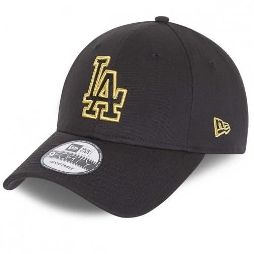 Los Angeles Dodgers Metallic Logo 9FORTY Black PRETO