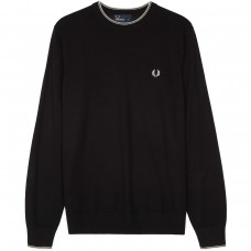 Fred Perry Merino Wool Crew Neck Jumper  - black PRETO