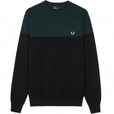 Fred Perry Panelled Crew Neck Jumper  - black PRETO