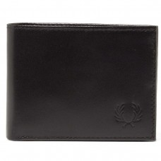 Fred Perry Contrast Leather Billfold Wallet  - black PRETO