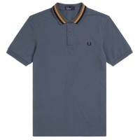 Polo Fred Perry Bomber Stripe CINZENTO
