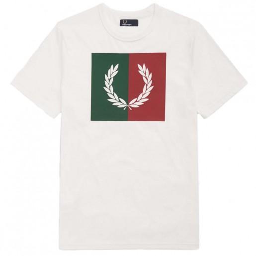 T-Shirt Fred Perry Split Laurel Wreath BRANCO