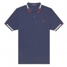Abstract Tipped Polo Shirt AZUL